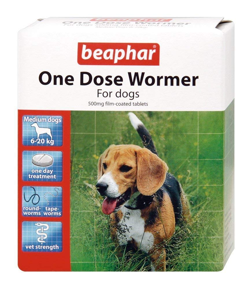 (2 Pack) Beaphar - One Dose Wormer for Small / Medium Dogs 2 Tabs