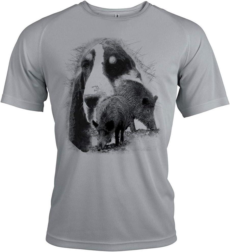 Pets-easy t Shirt Chasse Motif Sanglier et Gascon Saintongeois avec Texte Personnalisable