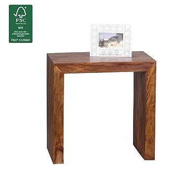 WOHNLING Beistelltisch Massiv-Holz Sheesham 60 x 35 cm Wohnzimmer ...