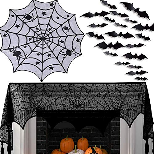 Halloween Fireplace Mantel Scarf Decorations Set - Spiderweb Tablecloth Cobweb Round Lace Table Topper Accessories - BONUS 24 Pieces 3D PVC Bats Stickers to Decor Yard Gate Kitchen Window - Set of 3