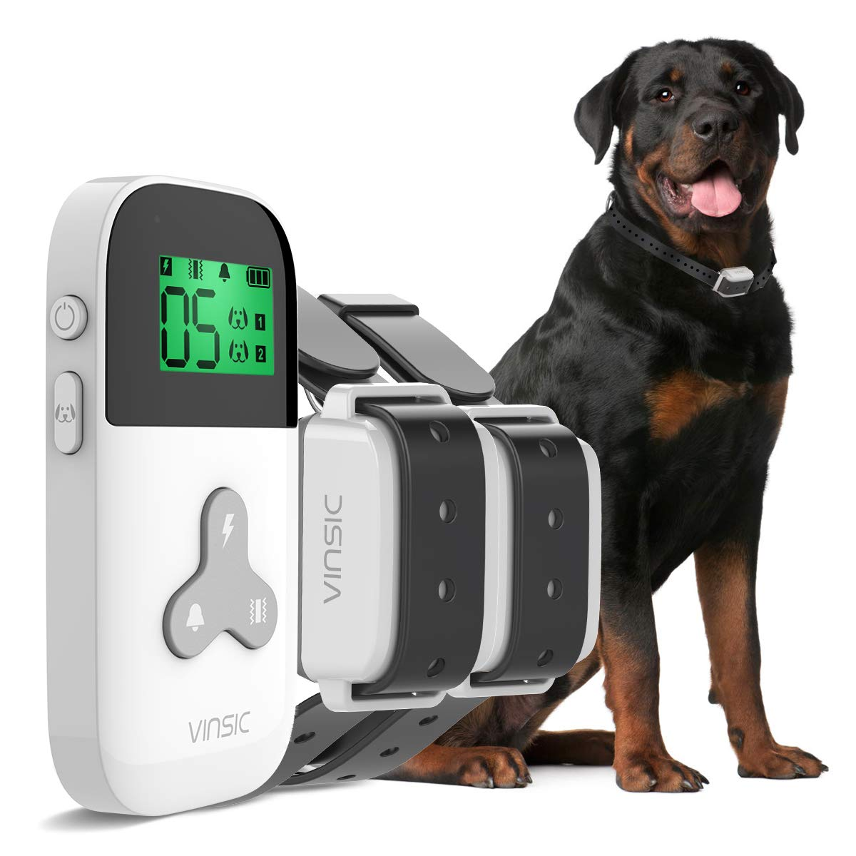 VINSIC Dog Shock Collars with Remote for 2 Dogs, Rainproof Dog Training Collars with 300yd Range Remote Control, for Small Big Dog bark Collar with LCD Display