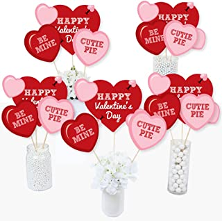 product image for Conversation Hearts - Valentine's Day Party Centerpiece Sticks - Table Toppers - Set of 15