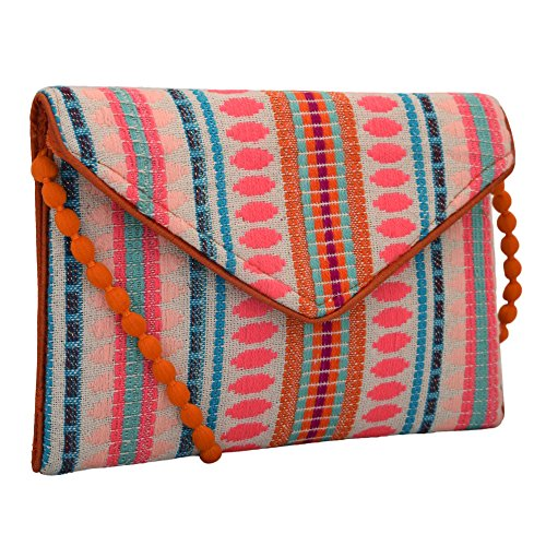 (Handloom and Jacquard Fabric Evening Bag Clutch Purses for Women Orange Magenta Combo)