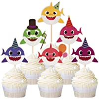 24PCS Baby Shark Cupcake Toppers Decor for Ocean Theme Birthday Party Baby Shower Cake