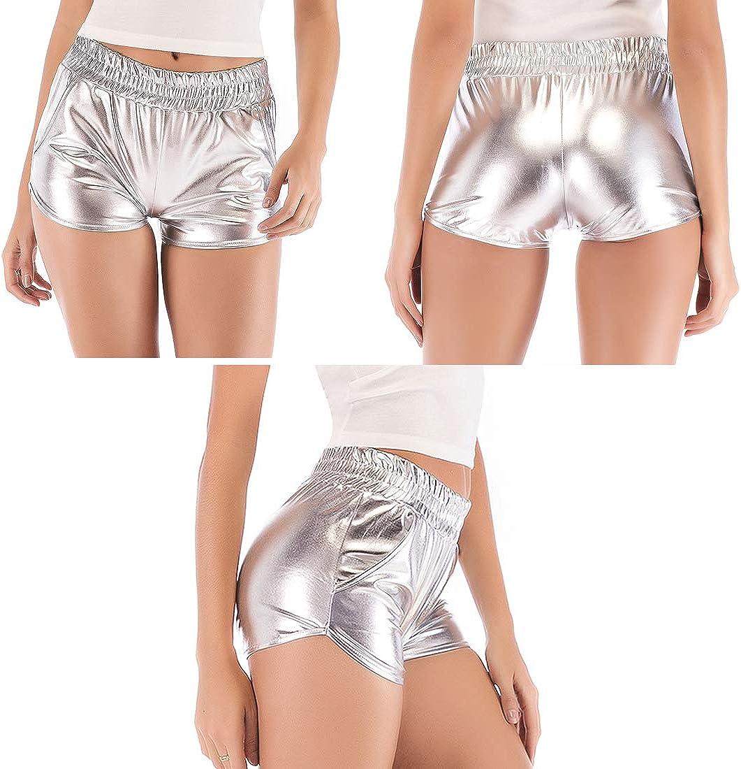 Polly Online Frauen Metallic Shorts Gl/änzende Shorts PU-Leder-Shorts Elastische Taillenshorts