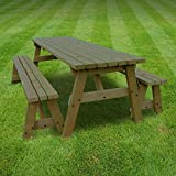 OAKHAM PICNIC TABLE AND BENCH SET - PUB STYLE BENCH - 6FT - HEAVY DUTY - HAND MADE - RUSTIC BROWN - PRESSURE TREATED!!