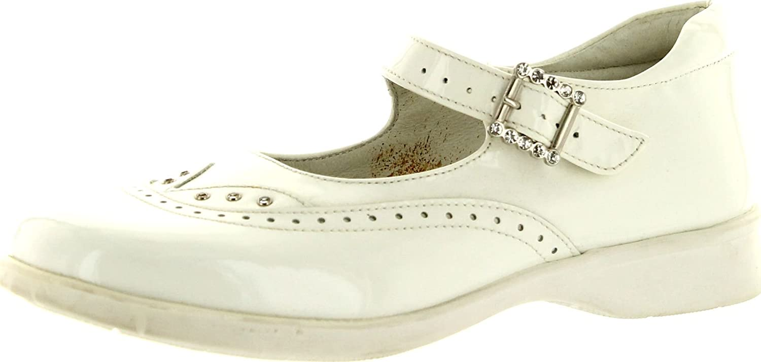 Oxford Girls 3053 White Patent Made in Italy Dress Flats Shoes