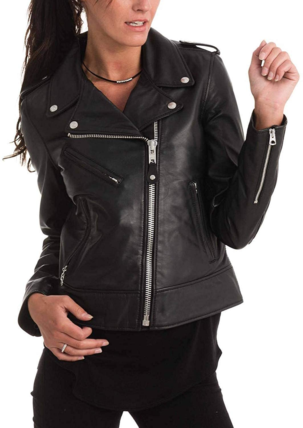 Black46fc DOLLY LAMB 100% Leather Jacket for Women  Slim Fit & Quilted  Moto, Bomber, Biker Winter Casual Wear