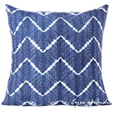 Eyes of India - 24'' Blue Printed Kantha Throw Couch Sofa Shibori Pillow Cover Colorful Decorative Cushion Boho Indian BohemianCover Only