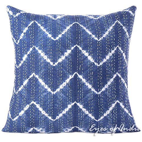 Eyes of India - 24'' Blue Printed Kantha Throw Couch Sofa Shibori Pillow Cover Colorful Decorative Cushion Boho Indian BohemianCover Only by Eyes of India
