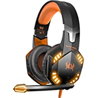 VersionTECH G2000 Pro Gaming Headset for Xbox One, PS4 , Gaming Headphones with Mic, Stereo Bass Surround, Noise Reduction, LED Lights for Laptop, Mac, PC, Nintendo Switch Games -Orange