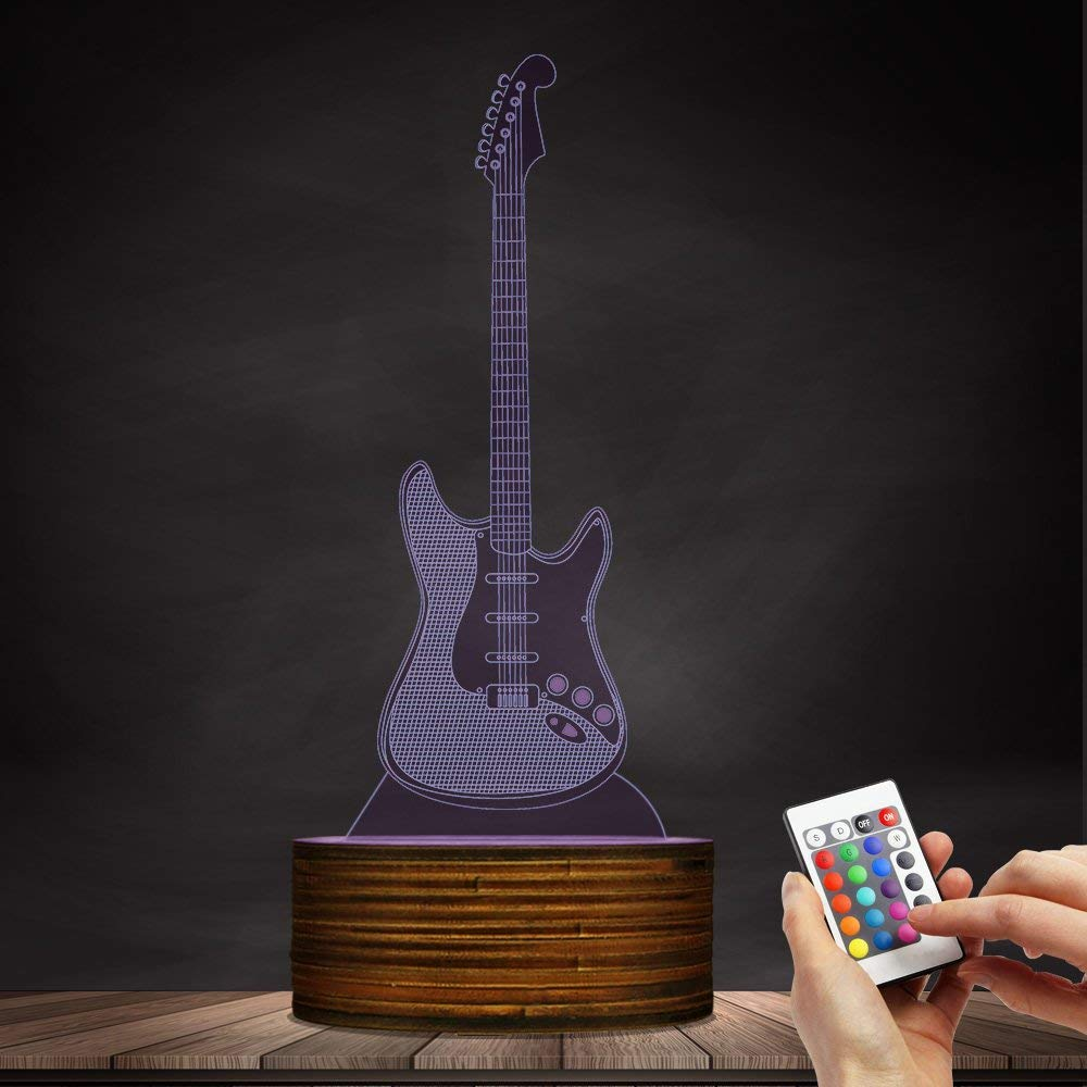 Novelty Lamp, 3D LED Lamp Optical Illusion Guitar Night Light, USB Powered Remote Control Changes The Color of The Light, Children's Friends Birthday Party, Ambient Light by LIX-XYD (Image #7)