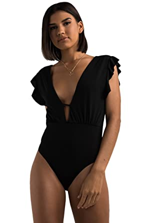 1a95a84a25b0 AKIRA Caitlin Ruffle Sleeve Bodysuit - Black - L: Amazon.co.uk: Clothing