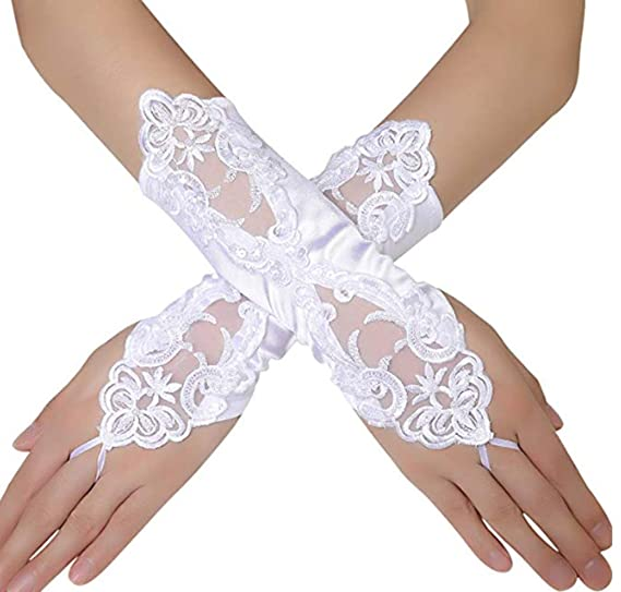 1 Pair Women Bride Long Lace Arm Elbow Gloves Lace Fingerless Wedding Gloves
