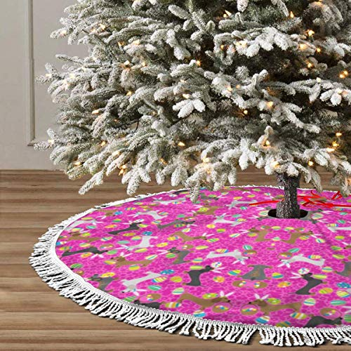JIAQI11 It's The Easter Dachshund Pink Christmas Tree Skirts 48inches,Xmas Party Holiday Decorations,The Perfect, 3 Kinds of Size