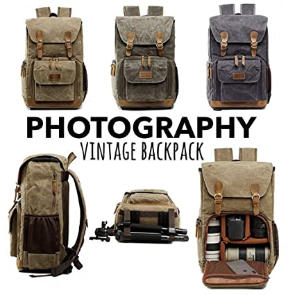 2913c23a0fb3 Hot Premium Vintage Photography Backpack Waterproof Photography Canvas  L11.8 x W7.4 x