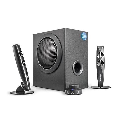 wavemaster STAX BT - Kit d'enceintes stéréo 2.1 Bluetooth (46 Watt) pour TV, PC, tablette, smartphone - NOIR (66211)