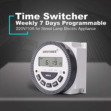 Lorenlli Ajuste SINOTIMER 220V 10A Semanal 7 días Interruptor de tiempo digital programable Control del temporizador de relé para aparatos eléctricos con ...