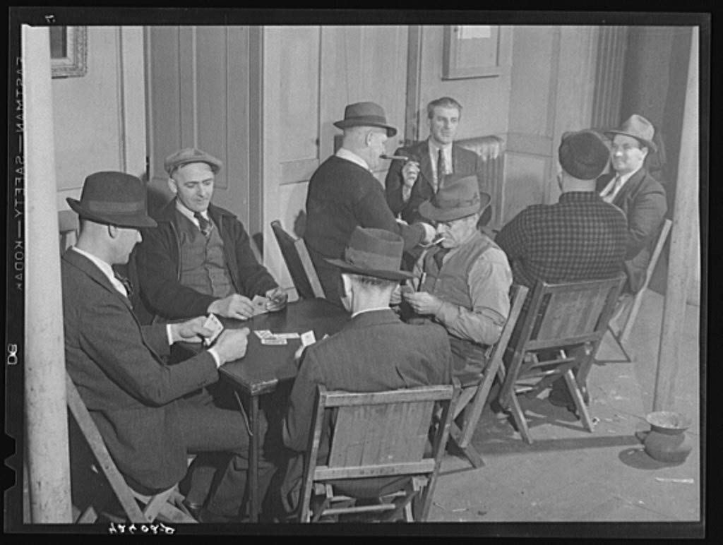 Vintography Reproduced Photo of Shipyard Workers Playing Cards at The Senator Baxter, a Hotel, Recreation Hall and General get Together. Bath, Maine 1940 Delano C Jack 92a