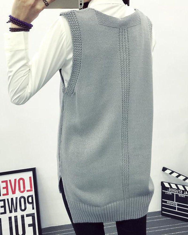 Qitun Womens Oversized V Neck Sleeveless Split Hem Knitted Pullover Sweater Vests