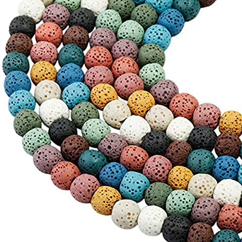 SUNYIK Colorful Lava Stone Loose Bead for Jewelry Making 6mm Round 14