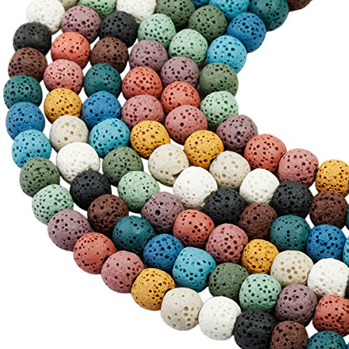 SUNYIK Colorful Lava Stone Loose Bead for Jewelry Making 8mm Round 14