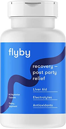 Flyby Party Recovery & Prevention Pills for Rapid Hydration Aid & Better Mornings (90 Capsules) - Manufactured in USA - Electrolytes, Dihydromyricetin (Dhm), Chlorophyll, Prickly Pear & Milk Thistle