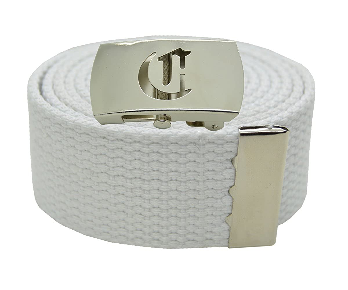 Canvas Military Web Belt /& BIG C Silver Buckle 48 54 60 or 72 Inches 25 Colors