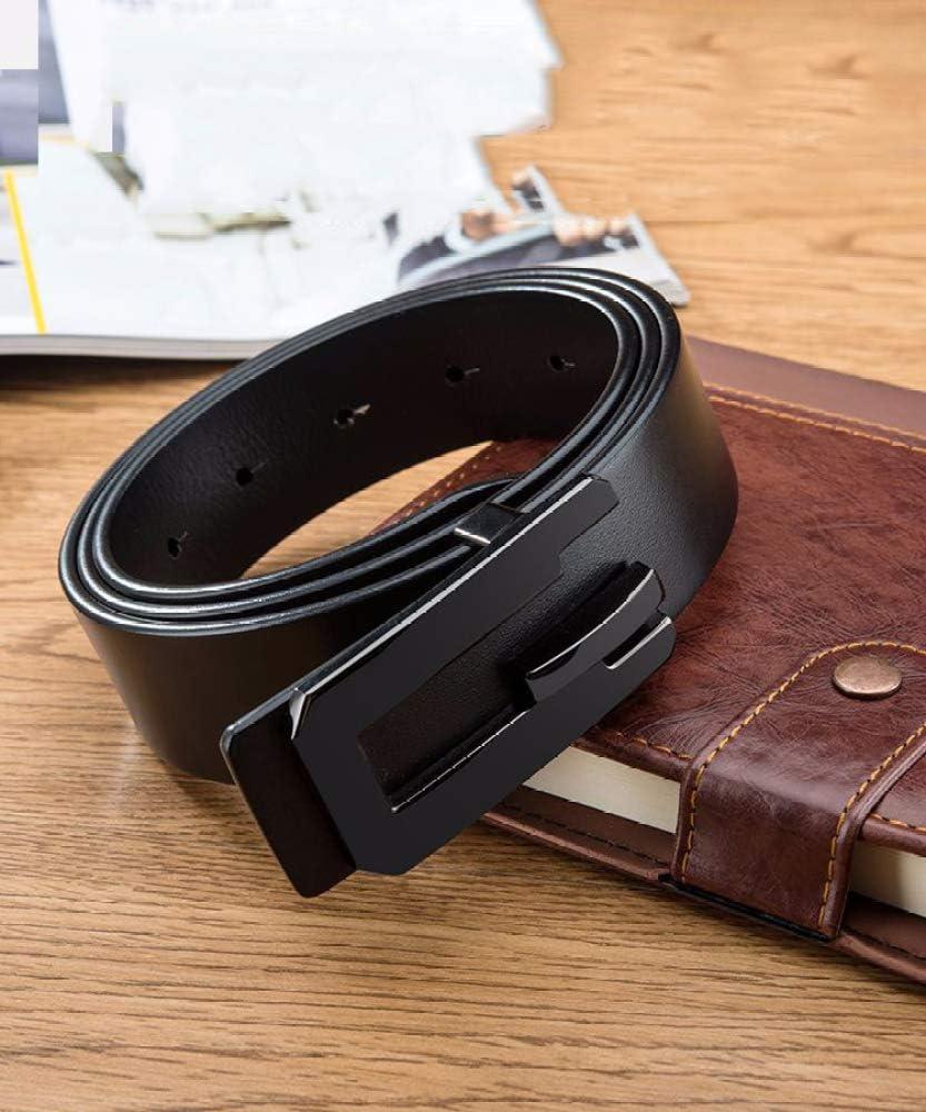 GJJ Black Belt Men Suede Leather Belt Casual Business Belt Rectangular Hollow Belt,Ga Color,A