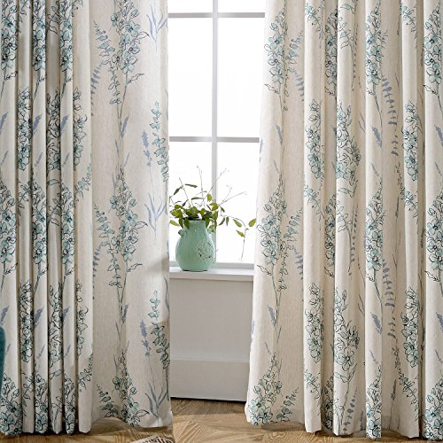 Cheap Blue Sage Flower Curtains Drapes – Anady 2 Panel Room Darkening Blackout lined Curtains Grommet 63 inch Length