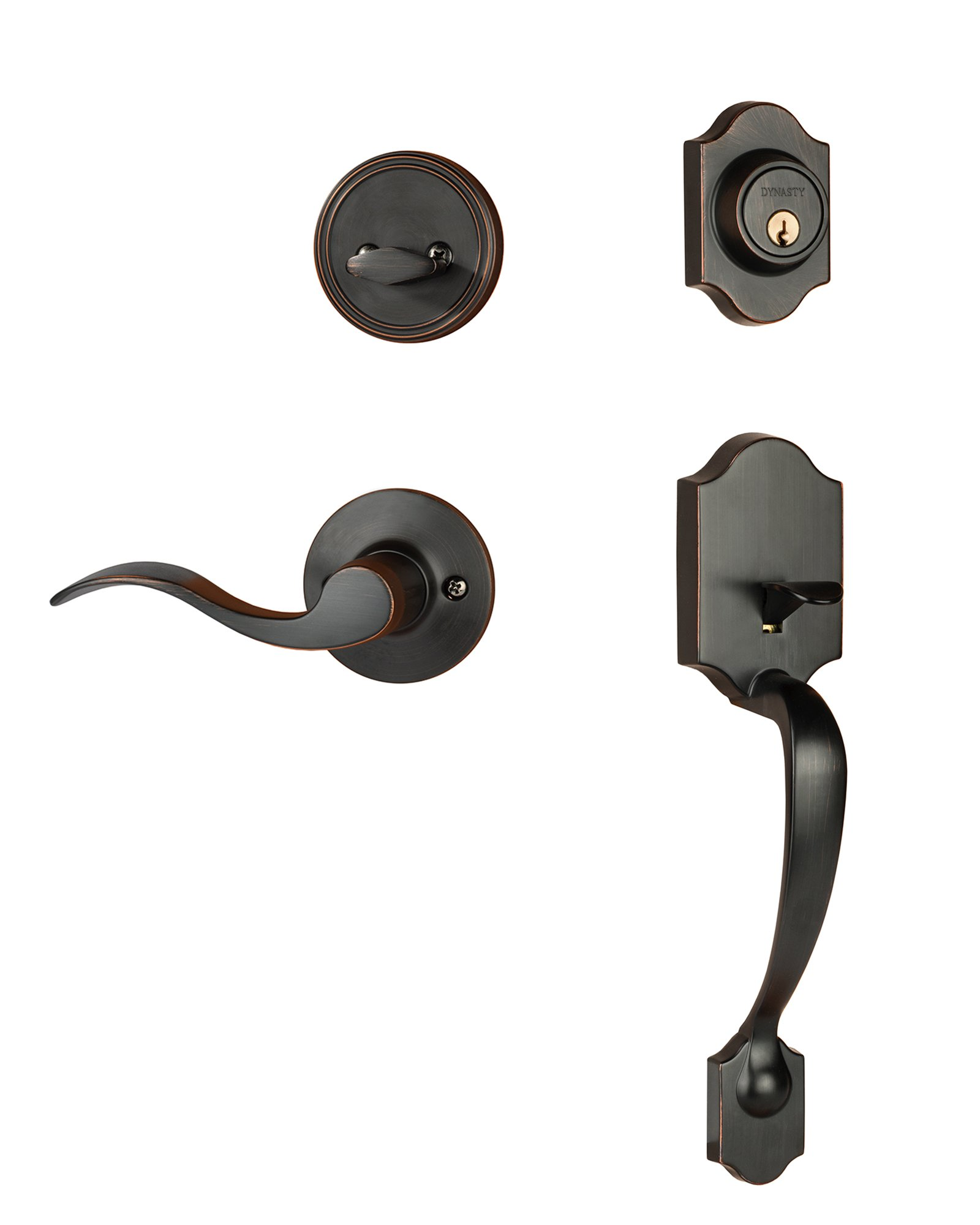 Dynasty Hardware DEN-HER-100-12PR Denver Front Door Handleset, Aged Oil Rubbed Bronze, With Heritage Lever, Right Hand