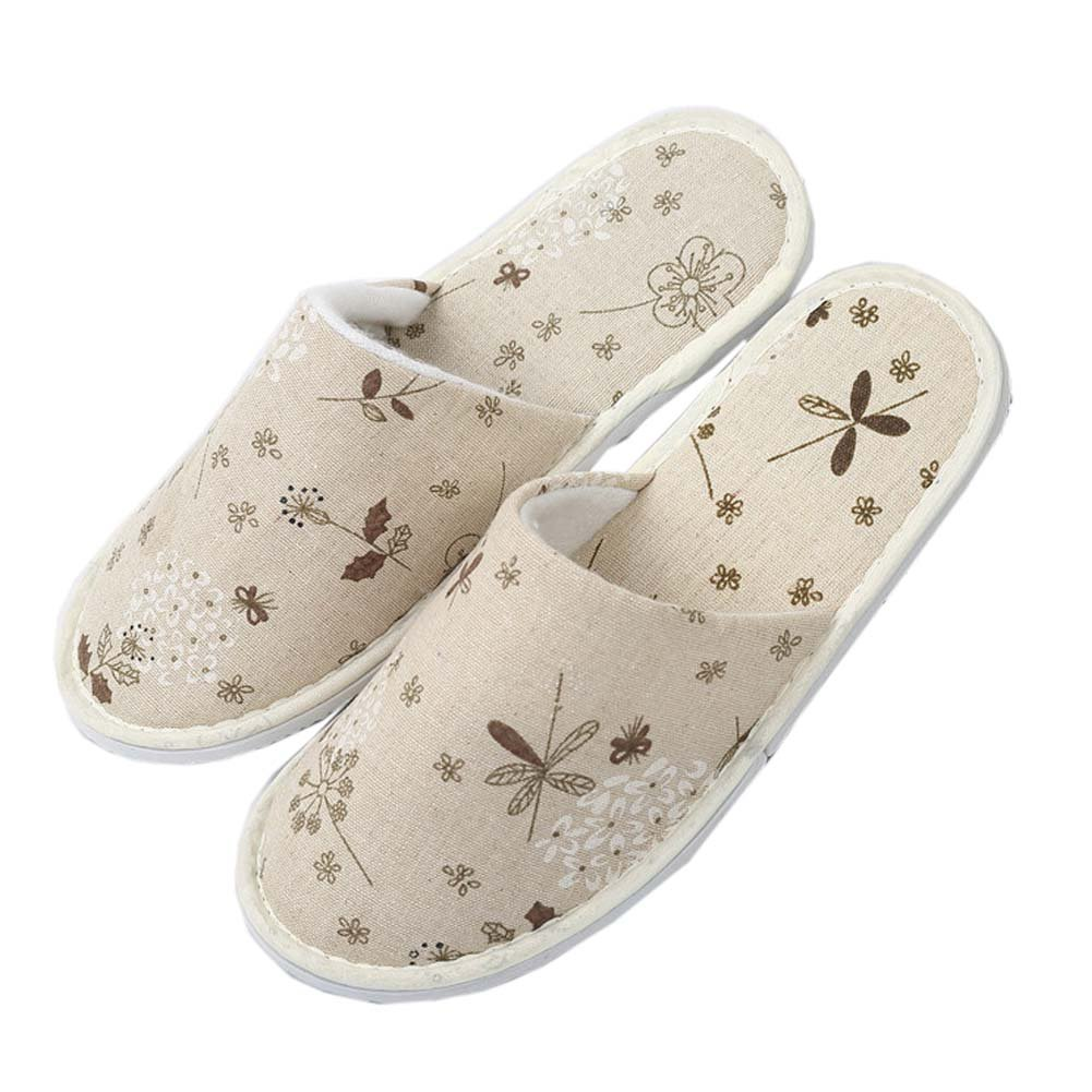 10 Pairs Linen House Slippers Hotel Spa Slippers Travel Slippers, B FANCY PUMPKIN
