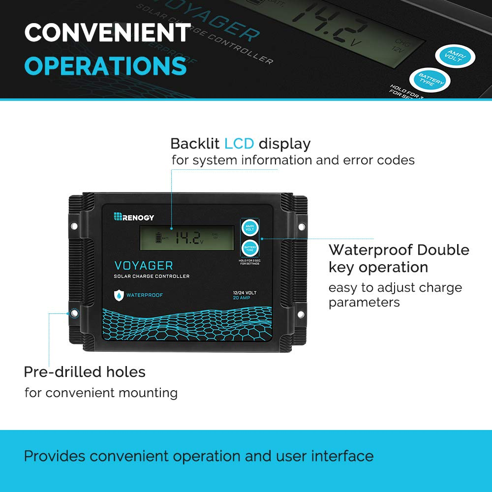 Black 10 Amp Renogy New Edition Voyager 10A PWM Waterproof Solar Charge Controller