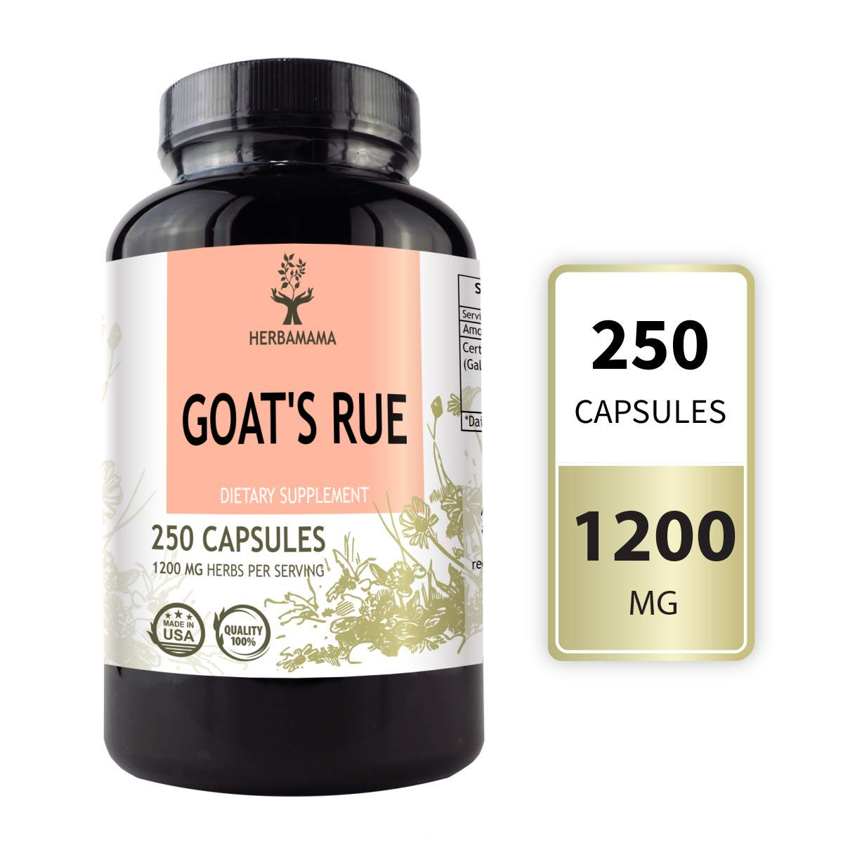 HERBAMAMA Goat's Rue Capsules - Galega Officinalis Nutritional Supplement - 1200 mg, 250 Capsules - Promotes Milk Flow, Lactation & Mammary Tissue Development - Non-GMO Support for Breastfeeding