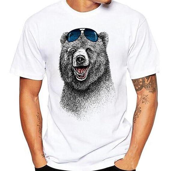 Camisetas Blancas con Estampado De Oso Hombre LHWY, Remera Abanderado Talla Grande Camisetas Suelto Cuello