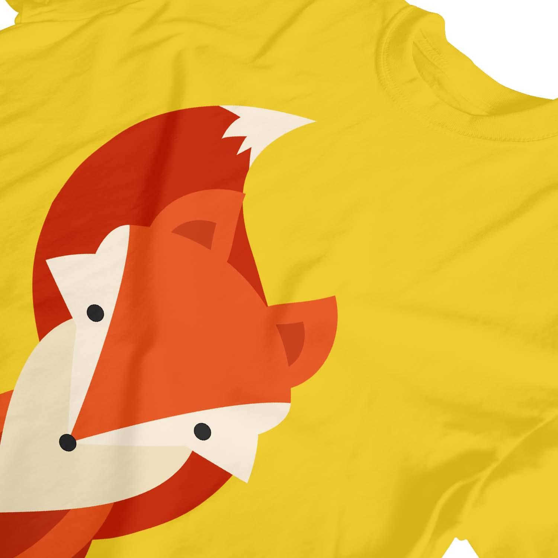 1Tee Girls Cartoon Geometric Fox T-Shirt