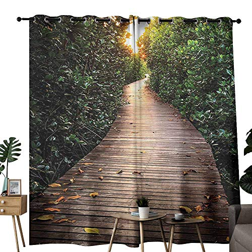 Outdoor Nature Exclusive Home Curtains Boardwalk in Mangrove Forest Sunlight Tunnel Sunset Autumn Golden Leaves Wedding Party Home Window Decoration W96 xL72 Green Brown