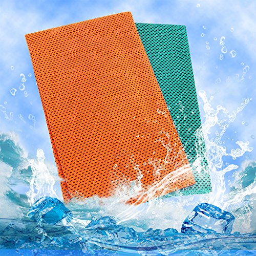 Frontoper 2 Packs Cooling Towel, Super Sweat-Absorbent Sports Towel for Sports, Workout, Fitness, Gym,Yoga, Pilates, Travel,Camping,Running,Training,Driving, Cycling & Other Sports (Orange+Blue)