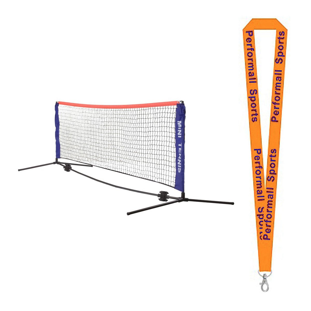 Champion Sports Mini Tennis Net Set Blue / Black with 1 Performall Lanyard MTNSET-1P by Performall Sports Table Tennis
