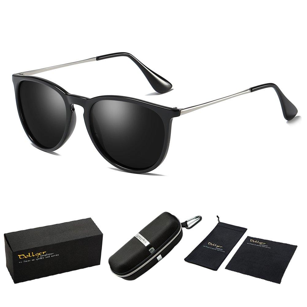 Polarized Sunglasses for Women Brand Design Round Vintage Style Erika Black Frame UV400 Protection