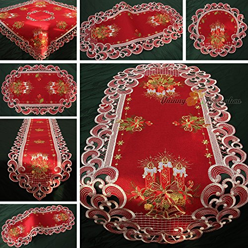 Red Advent Candles (Quinnyshop Christmas Candle Bell Doily 12-inch/ 30 cm Round Polyester, Red)