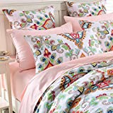 Brandream Damask Medallion Luxury Duvet Cover Queen Size Boho Paisley Print Bedding Set 800 Thread Count Egyptian Cotton Sateen Vibrant Bohemian Pattern(Queen,Pink)