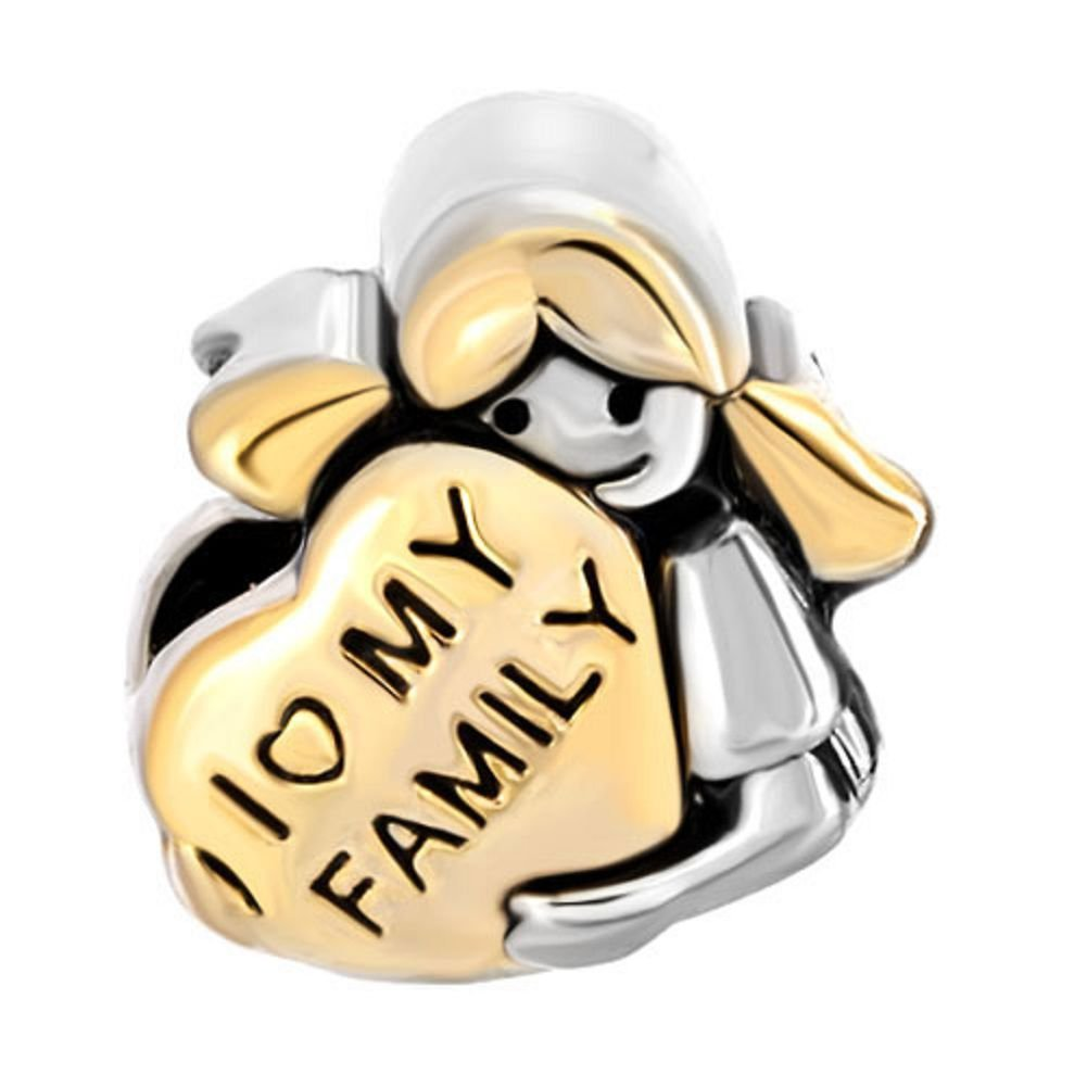 DemiJewelry I Love My Family Heart Charms Beads fit Charm Bracelet