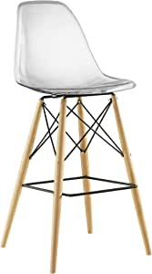 Amazon Com Modway Pyramid Mid Century Modern Bar Stool With Natural Wood Legs In Clear Furniture Decor