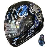 Motorcycle Helmet Full Face Sports Bike Helmet Skull F54 Blue/black+Gloves (M)