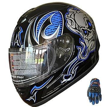 Casco de moto integral, casco de moto deportiva F54 con diseño calavera, azul/