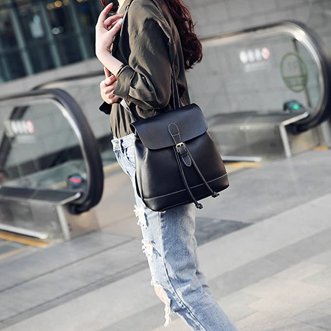 6c300dddb9 Amazon.com  Afco Korean College Student Backpacks Womens Small Leather  Shoulder Bag Travel Rucksack (Black)  Clothing