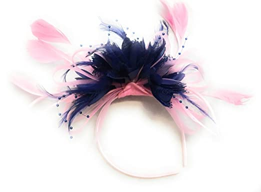 Baby Pink and Navy Blue Feather Hair Fascinator Headband Wedding and ... f4ae5ad6a65
