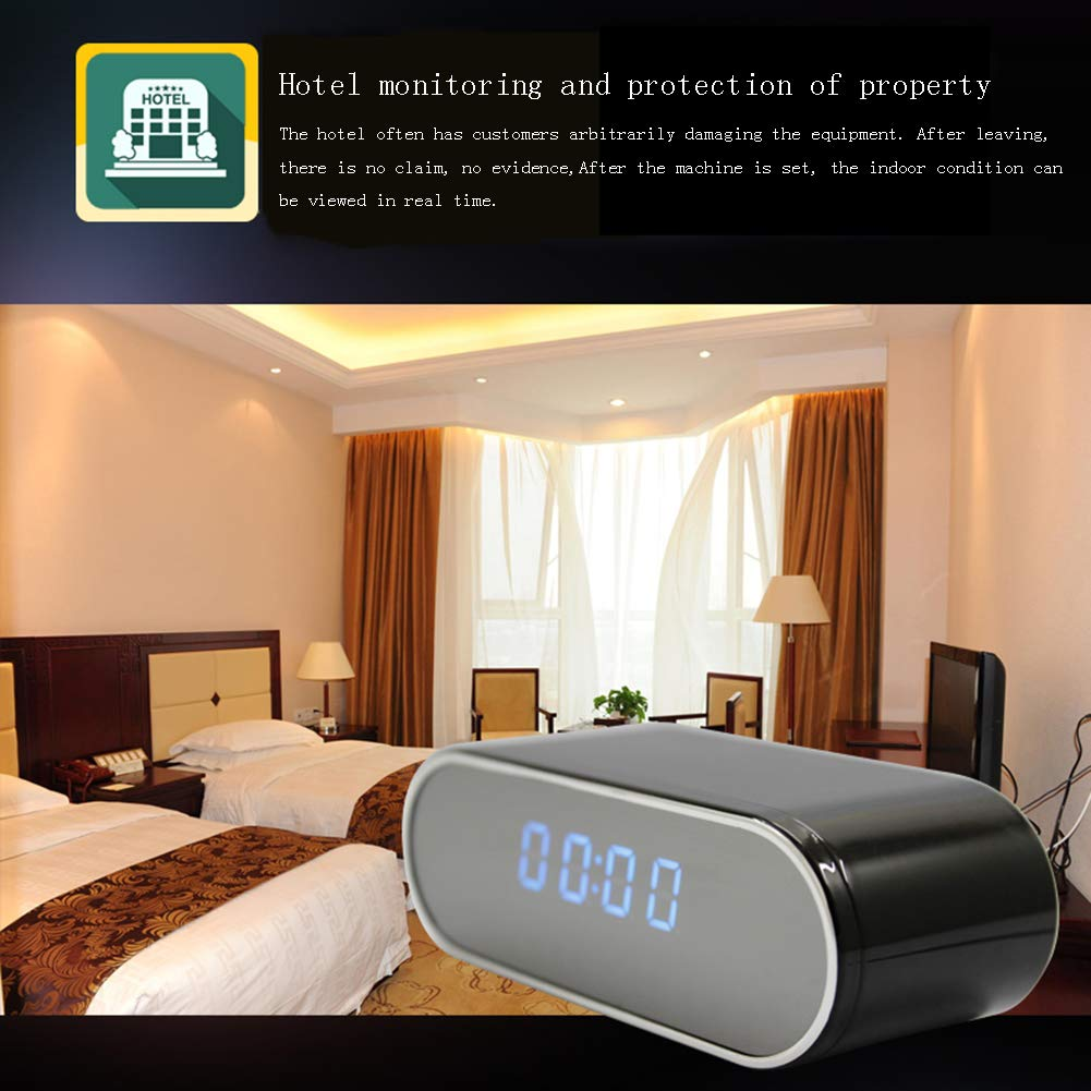 YMXLJJ 1080P HD Digital Alarma Reloj WiFi Red Mini cámara casa Seguridad cámara no luz Noche visión y Deportes Comprobar Apoyo iOS/Android/PC/Mac: ...