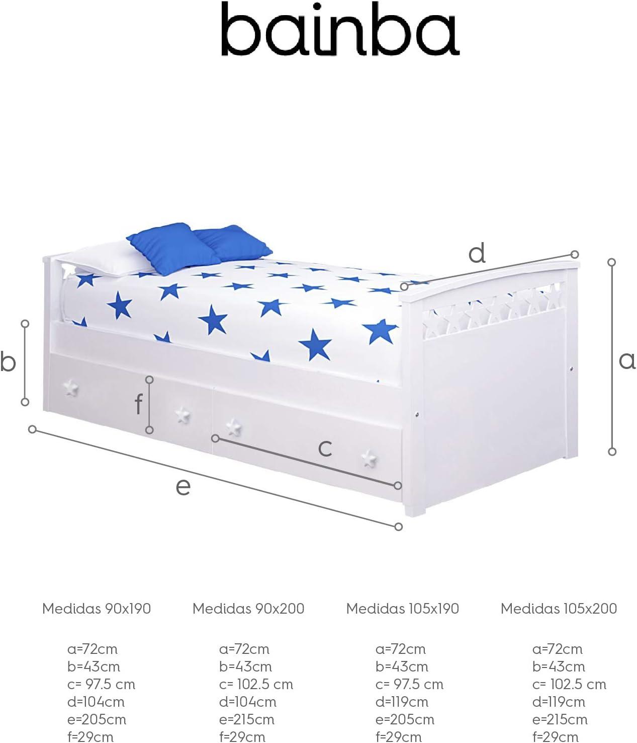 Cama Nido Estrellas con cajones (Colchón 105 x 190, Blanco ...